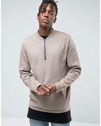 ASOS | Natural Sweatshirt With Half Zip & Kangaroo Pocket for Men | Lyst