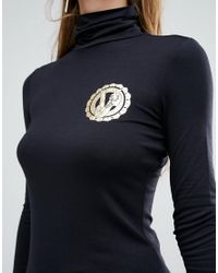 Versace - Jeans Roll Neck Logo Top - E899 Black - Lyst