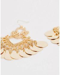 ASOS Metallic Earrings With Disc Drop Detail In Gold Tone