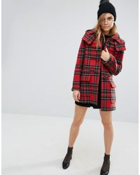Gloverall Red Check Duffle In Royal Stewart Tartan