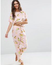 ASOS Pink Frog Print Woven Tee & Long Leg Pajama Set
