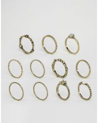 ASOS | Metallic Pack Of 10 Etched Stone Ring Pack | Lyst