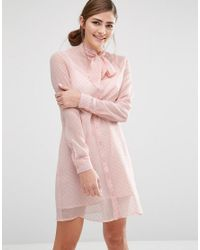 Fashion Union Pink Shirt Dress With Sheer Layer And Bow Collar