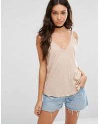 ASOS   Pink V Front And Back Cami Top   Lyst