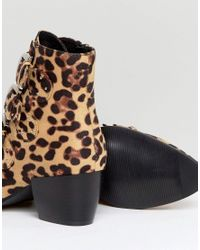 Truffle Collection - Brown Stud Buckle Strap Mid Heel Boot - Lyst