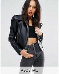 ASOS | Black Ultimate Leather Look Biker Jacket With Multi Stitch Detail | Lyst