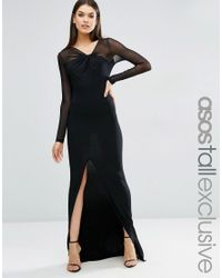 ASOS | Black Maxi Dress With Mesh Insert | Lyst