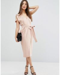 ASOS | Pink Split Sleeve Dress With Plunge Neck And Tie Belt | Lyst