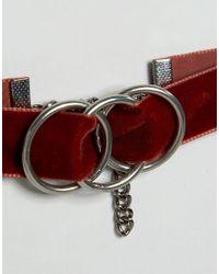 Regal Rose - Red Xena Triple Ring Velvet Choker - Lyst