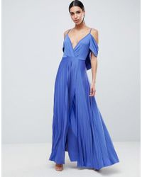 ASOS - Blue Design Cold Shoulder Cowl Back Pleated Maxi Dress - Lyst