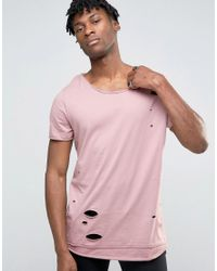 ASOS Super Longline T-shirt With Distress And Scoop Neck In Pink for men