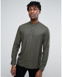 ASOS   Green Regular Fit Viscose Shirt With Grandad Collar for Men   Lyst