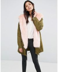 Little Mistress   Green Hooded Parka With Contrast Faux Fur Lining   Lyst