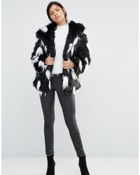 Little Mistress Multicolor Ombre Faux Fur Coat