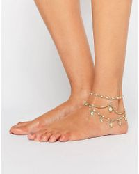 ASOS - Multicolor Multirow Faux Pearl & Charm Anklets - Lyst