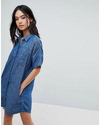 6ea36bea481 Lyst - Blank NYC Denim Shirt Dress in Blue