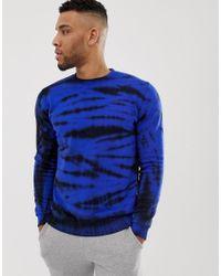 Sudadera azul efecto teñido anudado ASOS de hombre de color Blue