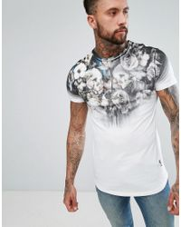 Religion White Longline T-shirt With Floral Skull Print And Curved Hem for men