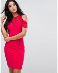 Lipsy Red Cold Shoulder Midi Bodycon Dress