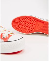 Красные Кеды С Цветочным Принтом -красный Converse, цвет: Red