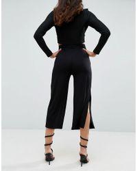 ASOS - Black Wide Leg Pants With Splits - Lyst