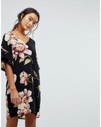 New Look Black Floral Print Ruffle Sleeve Tunic Dress