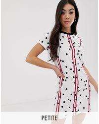 Noisy May White – T-Shirt-Kleid mit Streifen- und Punktmuster
