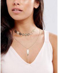 ASOS - Metallic Filigree Feather Multirow Necklace - Lyst