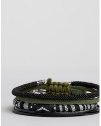 ASOS - Woven Bracelet Pack In Black With Khaki for Men - Lyst