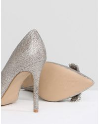 River Island - Metallic Wide Fit Embellished Bow Court Shoes - Lyst