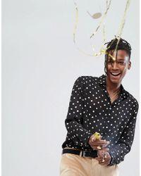 Camisa de corte estndar transparente con estampado de lunares metalizados en dorado y mangas de globo de ASOS de hombre de color Black