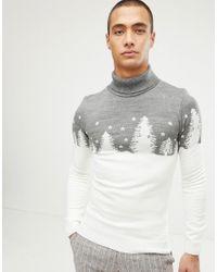 BoohooMAN White Christmas Roll Neck Jumper for men