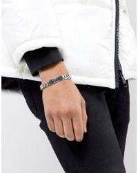 ASOS DESIGN - Black Bracelet With Roman Numerals Id Design In Gunmetal for Men - Lyst