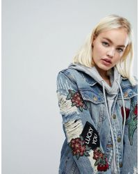 EVIDNT Blue Destroyed Denim Jacket With Patches