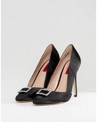 London Rebel Black Point Satin Heeled Shoe