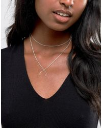 ASOS - Metallic Sterling Silver Open Shapes Multirow Necklace - Lyst
