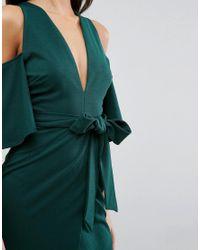 ASOS - Green Cold Shoulder Kimono Tie Pencil Dress - Lyst