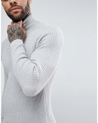 River Island Gray Muscle Fit Roll Neck Jumper In Light Grey for men
