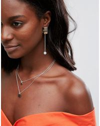 ASOS   Metallic Opal Effect Stone Half Hoop Earrings   Lyst