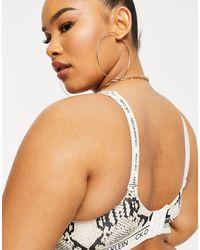 Бралетт С Тонкой Подкладкой С Рисунком Под Кожу Змеи Plus Size Ck One-кремовый Calvin Klein, цвет: Multicolor