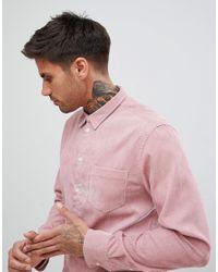Boohoo Corduroy Shirt In Dusty Pink for men