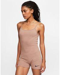 Бежевый Комбинезон С Логотипом-галочкой Nike, цвет: Natural
