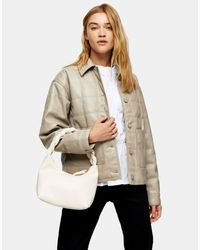 Свободная Стеганая Куртка Серовато-бежевого Цвета Из Искусственной Кожи -коричневый Цвет TOPSHOP, цвет: Multicolor
