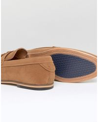 River Island Brown Woven Loafers With Tassels In Tan for men