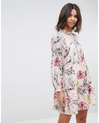 Miss Selfridge Multicolor Floral Tiered Smock Dress