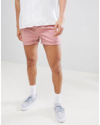 ASOS Skinny Shorter Shorts In Pastel Pink for men