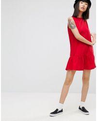 ASOS Red Dropped Hem Sleeveless Mini Smock Dress