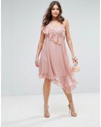 ASOS - Pink Asymmetric Midi Tea Dress In Metallic Dobby - Lyst