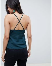 ASOS Green Satin Cami With Twist Front Detail