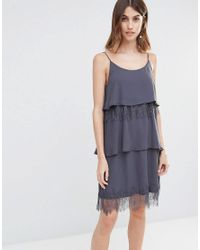 Vila - Gray Tiered Lace Cami Dress - Lyst